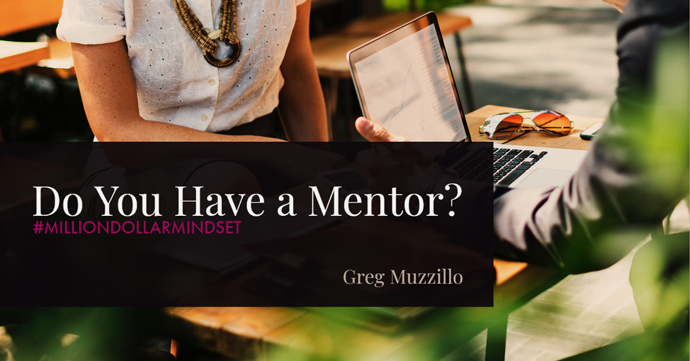 """Image graphic of casual business meeting between a man and a woman with a small wooden table between them. Image text says, """"do you have a mentor?"""""""