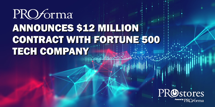 "Image graphic with various stock market graphs blended with colors. Image text says, ""Proforma announces $12 million contract with Fortune 500 tech company""."