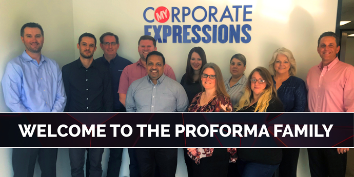 """Photo of My Corporate Expressions staff with company logo in the background. Image text says, """"Welcome to the Proforma Family""""."""