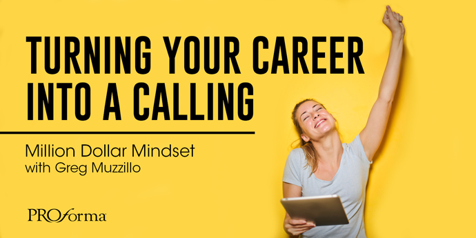 "Image graphic of woman giving a satisfactory cheer with her left hand lifted up with a closed fist. Image text says, ""Turning your career into a calling""."