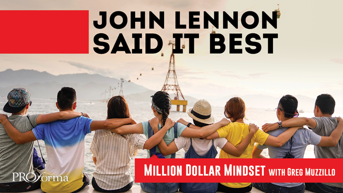 """Image graphic with a row of people looking away from viewer into the distance with hands across each others' shoulders. Image text says, """"John Lennon said it best""""."""