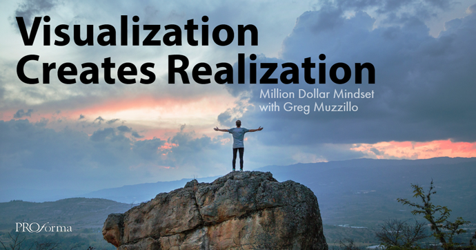 """Image graphic with man atop a large boulder with hands outstretched looking out over the horizon away from the viewer. Image text says, """"Visualization creates realization""""."""