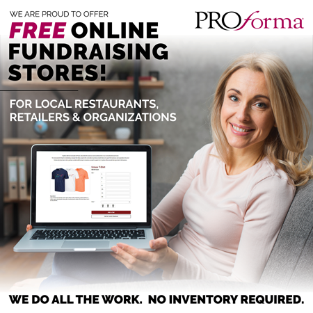 "Woman holding laptop with online store on screen. Image text says, ""We are proud to offer FREE online fundraising stores! For local restaurants, retailers and organizations. We do all the work. No inventory required."""