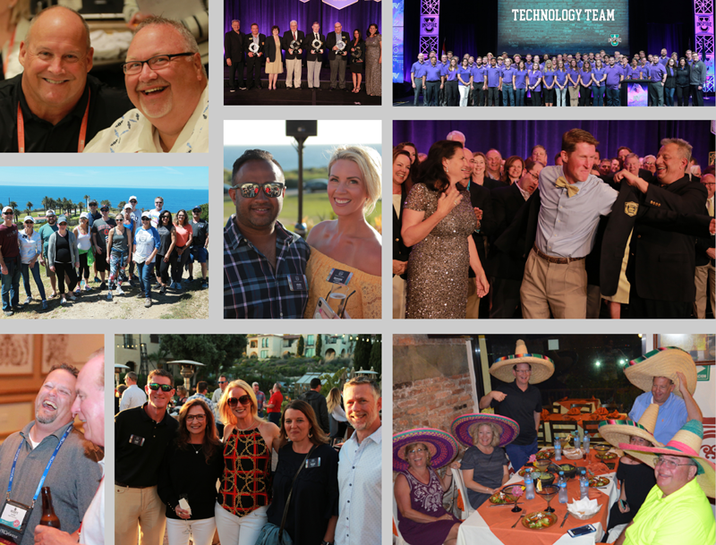Collage of group pictures at various Proforma events.