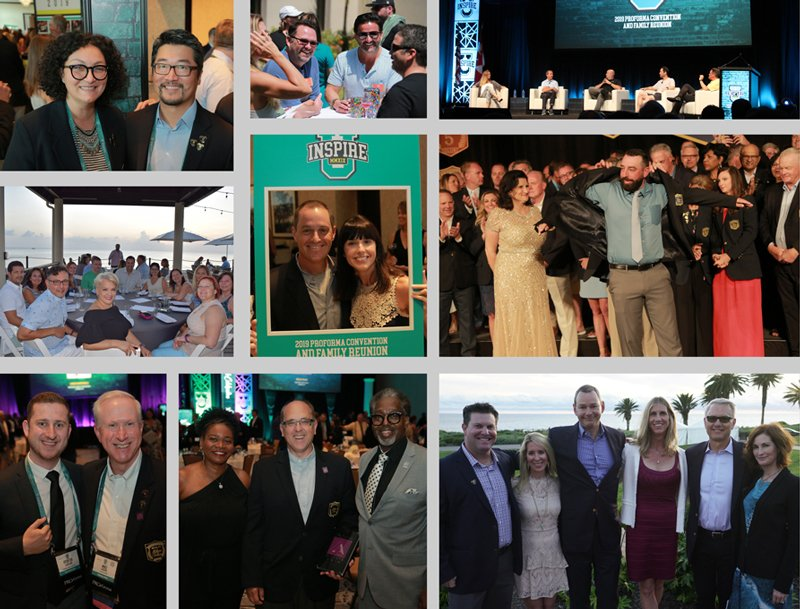 Collage of group pictures at various Proforma Owners events.