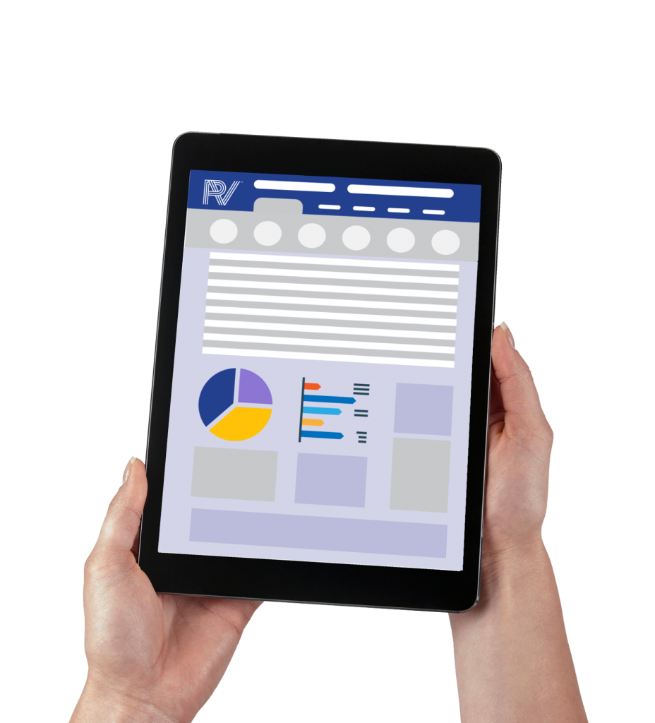 Two hands holding a black tablet showcasing a ProVision Dashboard with a pie chart, horizontal bar graph, and metrics.