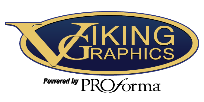 """Logo for Viking Graphics with caption that reads """"Powered by Proforma"""""""