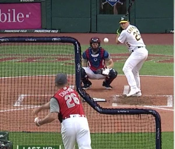Jim Chapman, Owner of Proforma Preferred, pitches to his son, Matt Chapman (third-baseman for the Oakland A's,), at the 2019 MLB All-Star Home Run Derby