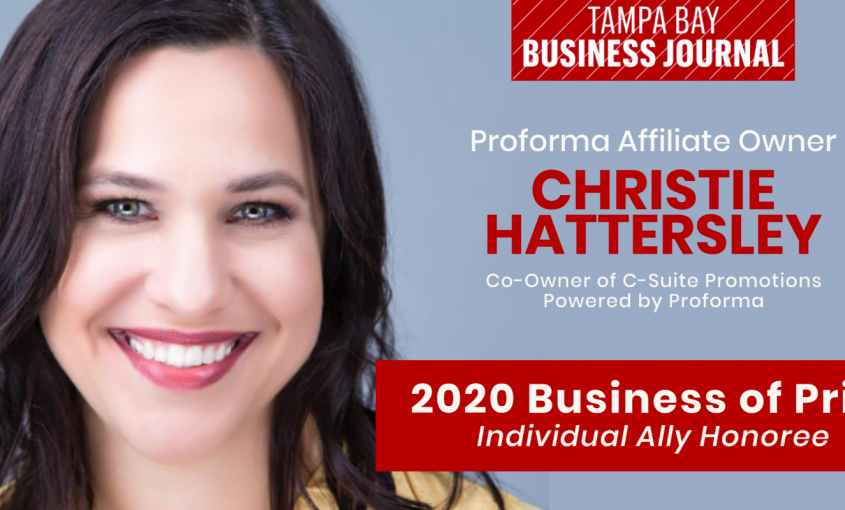 Tampa Bay Business Journal Recognition of Business of Pride for Christie Hattersley, Co-Owner of C-Suite Promotions Powered by Proforma.
