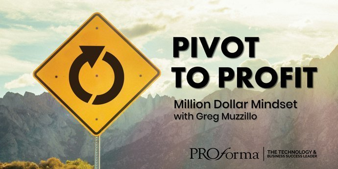 "Image graphic with a traffic sign indicating a roundabout. Image contains the text: ""Pivot to Profit""."