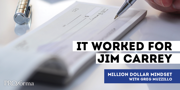 "Image graphic of a blank checkbook with someone holding a pen to the signature line. Image text says, ""It worked for Jim Carrey."""